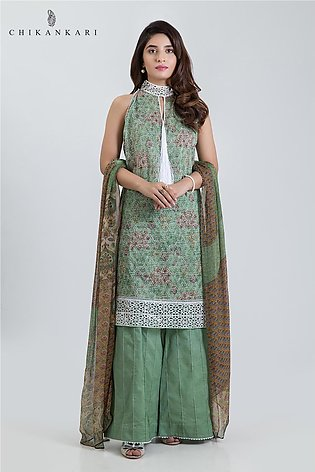 Bonanza Satrangi ChikanKari collection HEENA LOOK-3 PC MS193P028-GREEN