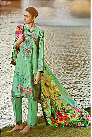 Gul Ahmed Summer Lawn20 3 PC Unstitched Embroidered Lawn Suit with Silk Dupat...