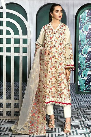 Gul Ahmed Summer Lawn20 3 PC Unstitched Swiss Voile Suit LSV-28