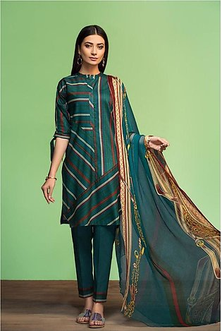 Nishat Linen Spring Summer 20 42001131-Printed Lawn, Cambric Rib Voil 3PC