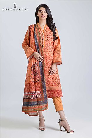 Bonanza Satrangi ChikanKari collection INTENSE ORANGE-3 PC AS193P098-FLAME