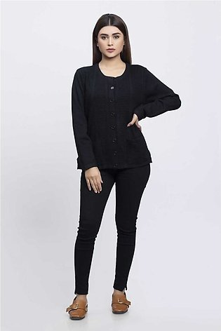 Bonanza Luxury Sweater Black-Full Sleeves-Cardigan 19S-090-61-BLACK