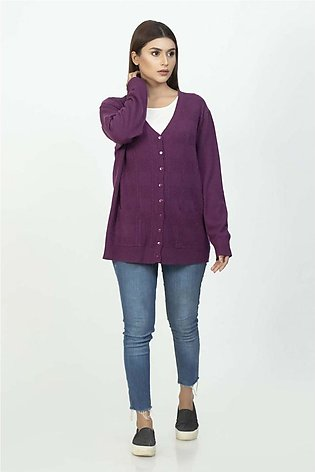 Bonanza Luxury Sweater R-Purple-Full Sleeves-Cardigan 19S-108-61-R-PURPLE