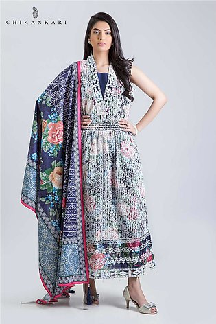 Bonanza Satrangi ChikanKari collection BLUE GARDEN-3 PC MS193P027-BLUE