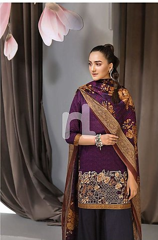 Nishat Linen Eid Collection'19 41907002 - Purple Printed Lawn Shirt Dyed Camb...