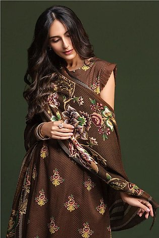 Nishat Linen Winter19 Unstitched 41901068-Linen Mix Wool Brown Printed 3PC