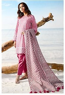 Alkaram Studio Spring Summer Collection 3 Piece Printed Suit with Jacquard Dupatta SS-01-19-2-Pink