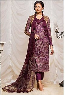 Alkaram Studio Lyrique 3 Piece Embroidered Suit with Chiffon Dupatta JC-09-19-B-Purple