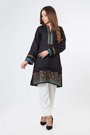 Bonanza Satrangi Black-Cotton Hand Loom-Kurti HLLS1P-026-BLACK
