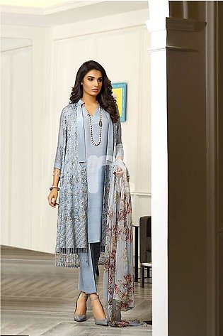 Nishat Linen Winter19 Unstitched 41908002-Chiffon Grey Printed Embroidered Lu...