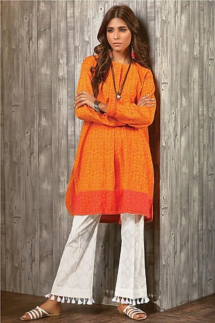 Bonanza Satrangi Cotton (Hand Loom) Kurti HLLS1P-006-ORANGE