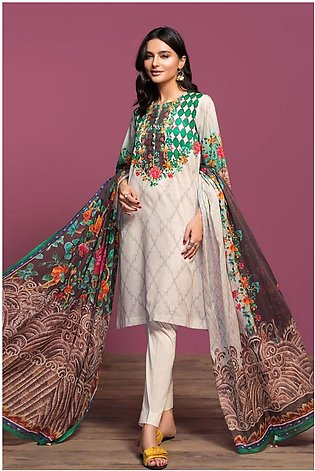 Nishat Linen Spring Summer 20 42001012-Digital Printed Lawn Rib Voil 2PC
