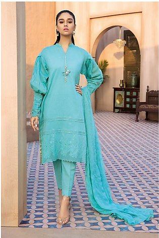 Gul Ahmed Summer Lawn20 3 PC Unstitched Embroidered Lawn Suit with Chiffon Du...