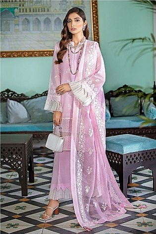 Gul Ahmed Eid 2020 3 PC Embroidered-Suit with Organza Dupatta FE-341
