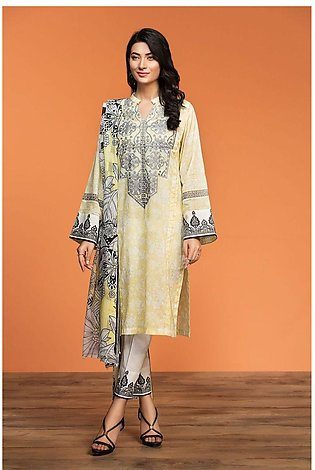 Nishat Linen Spring Summer 20 42001021-Printed Embroidered Lawn Rib Voil 2PC