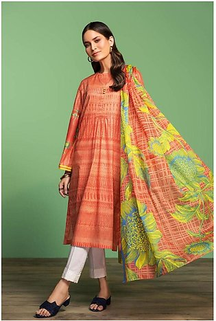 Nishat Linen Spring Summer 20 42001020-Printed Lawn Rib Voil 2PC