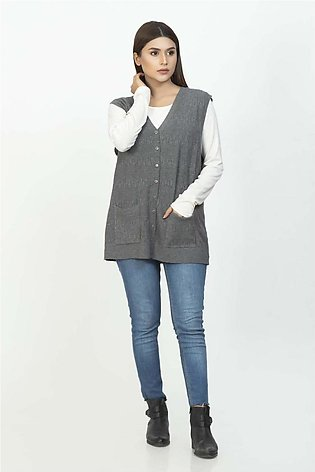 Bonanza Luxury Sweater D-Gray-Sando-Cardigan 19S-113-61-D-GRAY