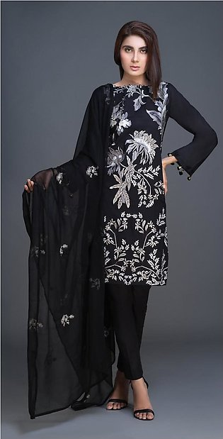 Salitex Lawn Shirt with Embroidered Front , Embroidered Chiffon Dupatta & Cam...