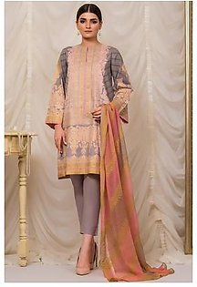 Alkaram Studio 3 Piece Printed Suit with Chiffon Dupatta