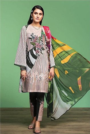Nishat Linen Spring Summer 20 42001062-Digital Printed Embroidered Lawn, Camb...