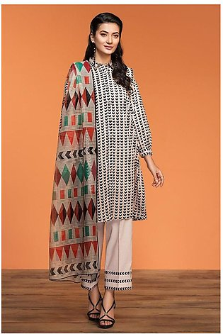Nishat Linen Spring Summer 20 42001197-Printed Lawn Viscose Net 2PC