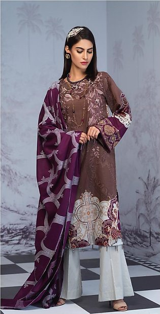 Salitex Printed Lawn Shirt with Embroidered Front & Lawn Jacquard Dupatta Fes...