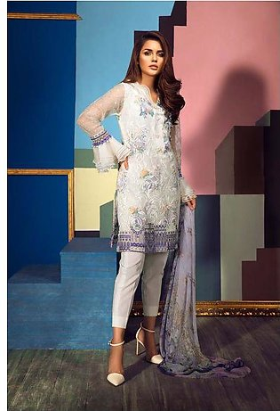 Gul Ahmed Eid ul Azha Collection Off White Embroidered Organza EA-54