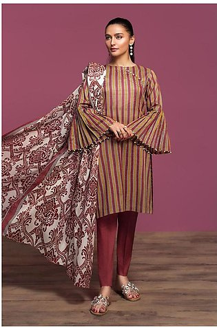 Nishat Linen Spring Summer 20 42001053-Printed Lawn, Cambric Voil 3PC