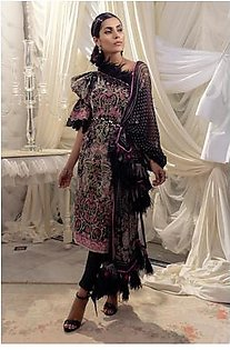 Alkaram Studio Lyrique 3 Piece Printed Suit with Chiffon Dupatta JC-07-19-B-Black