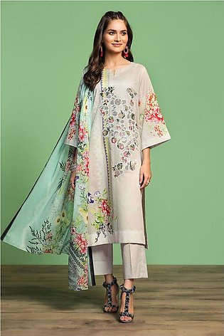 Nishat Linen Spring Summer 20 42001038-Digital Printed Embroidered Lawn, Camb...