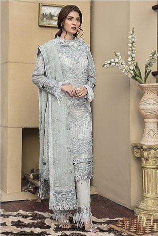 Motifz Luxury Collection 2143-SHADOW-GRAY EMBROIDERED CRINKLE CHIFFON UNSTITCHED
