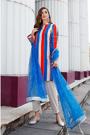 Gul Ahmed Eid 2020 3 PC Embroidered suit with Net Dupatta FE-332