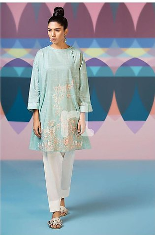 Nishat Linen PS19-107 Blue Textured Embroidered Stitched Lawn Shirt - 1PC