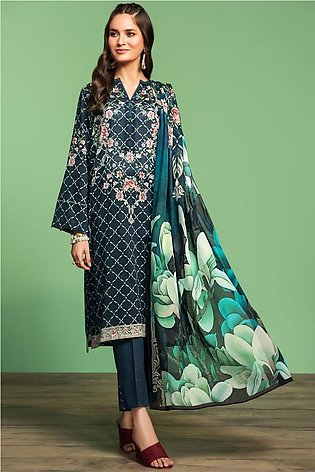 Nishat Linen Spring Summer 20 42001029-Digital Printed Lawn Voil 2PC