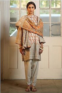 Alkaram Studio Heritage Collection 3 Piece Printed Suit With Lawn Dupatta HC-28K-19-Orange
