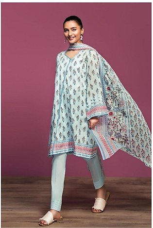 Nishat Linen Spring Summer 20 42001059-Printed Lawn, Cambric Voil 3PC