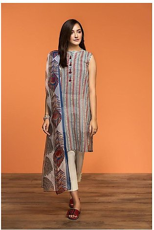 Nishat Linen Spring Summer 20 42001198-Printed Lawn Viscose Net 2PC