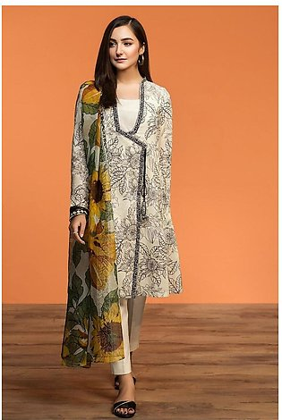 Nishat Linen Spring Summer 20 42001194-Printed Lawn Viscose Net 2PC