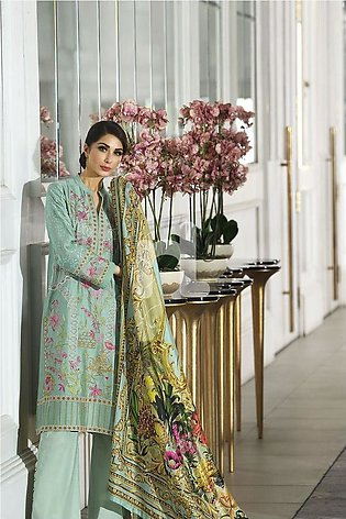 Nishat Linen Winter19 Unstitched 41908008-Silk Green Digital Printed Embroide...