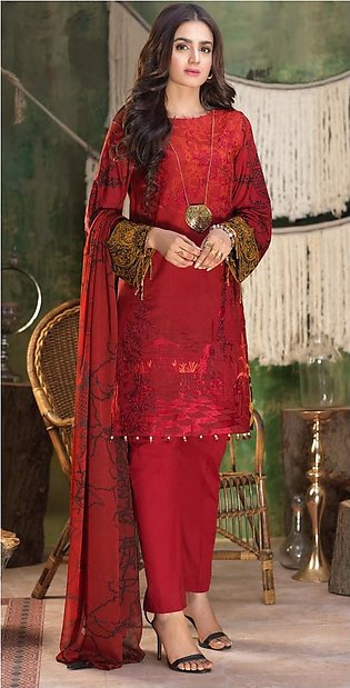Salitex Stitched Printed Lawn Shirt with Embroidered Front , Printed Chiffon ...