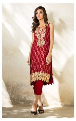 Tena Durrani Luxury Pret Red short shirt Q107