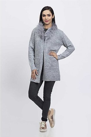 Bonanza Luxury Sweater L-Gray-Full Sleeves-Cardigan 19S-051-61-L-GRAY