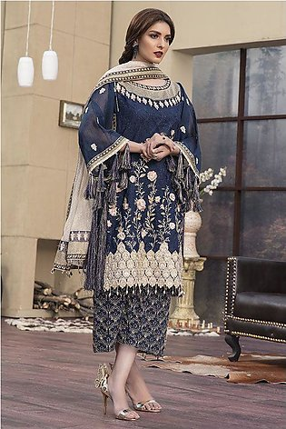 Motifz Luxury Collection 2146-NAVY-BLOOM EMBROIDERED BANARSI NET JACQUARD UNS...