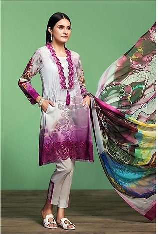 Nishat Linen Spring Summer 20 42001061-Digital Printed Embroidered Lawn, Camb...