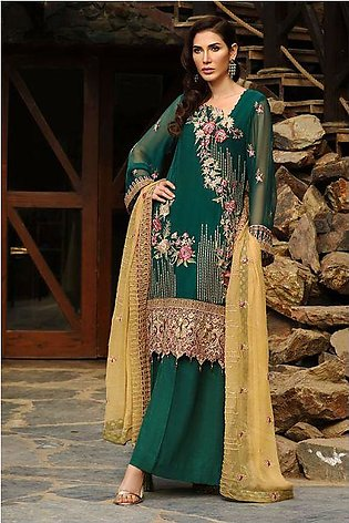 Motifz 2153-FOREST GREEN EMBROIDERED BEMBERG CHIFFON UNSTITCHED