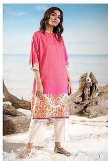 Alkaram Studio Spring Summer Collection 2 Piece Printed Suit with Cambric Trouser SS-18-19-2-Pink