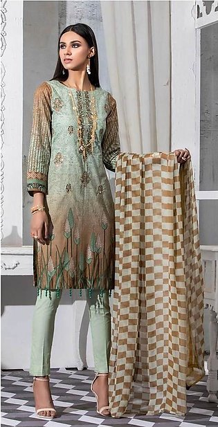Salitex Unstitched 3pc Printed Lawn Shirt with Embroidered Front & Chiffon Du...