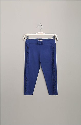 FRILLED JERSEY TROUSER - BLUE