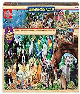 T.S. Shure Animals Jumbo Wooden Puzzles in a Wood Box