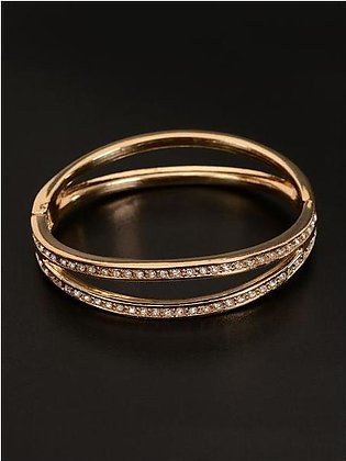 Double Lined Rhinestone Cuff Bangle
